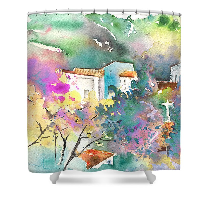 Travel Shower Curtain featuring the painting Gatova Spain 01 by Miki De Goodaboom