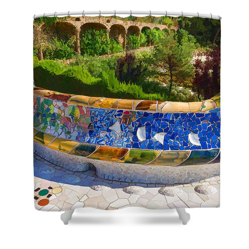 Georgia Mizuleva Shower Curtain featuring the digital art Gaudi's Park Guell - Impressions Of Barcelona by Georgia Mizuleva