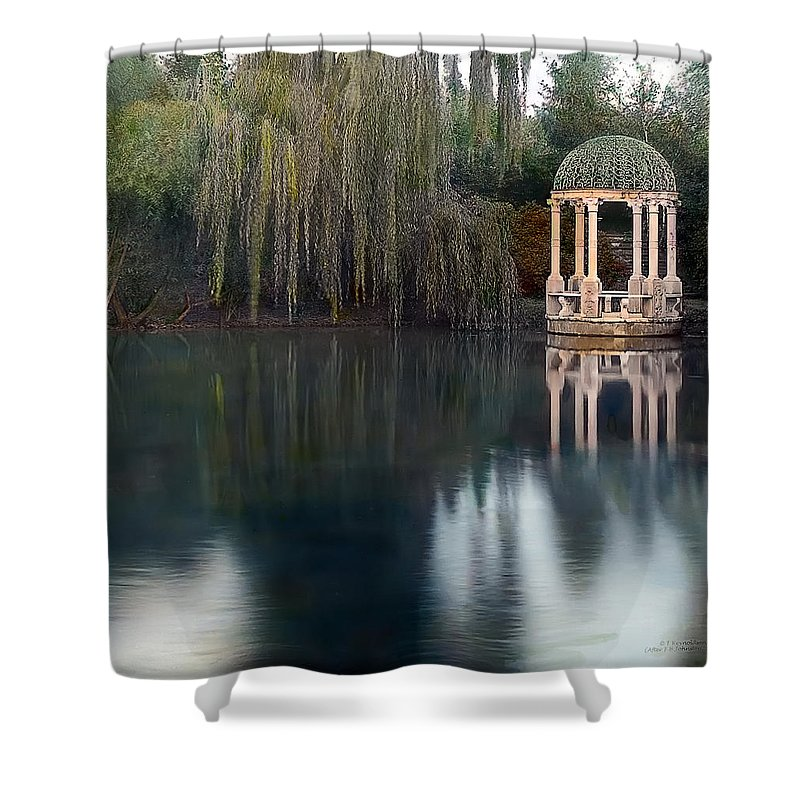 Tranquil Shower Curtain featuring the photograph Gazebo And Lake by Terry Reynoldson