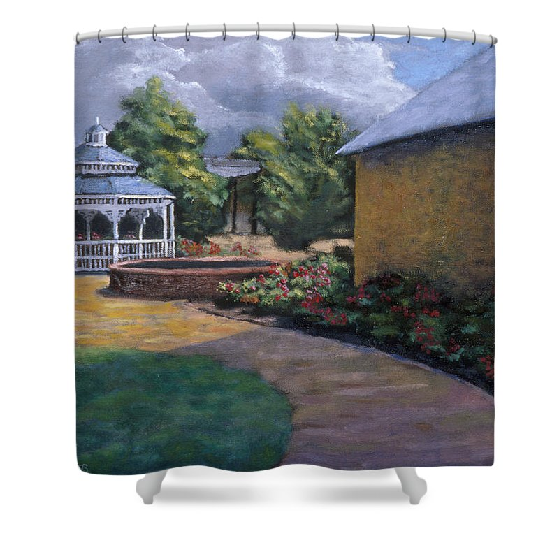 Potter Shower Curtain featuring the painting Gazebo In Potter Nebraska by Jerry McElroy