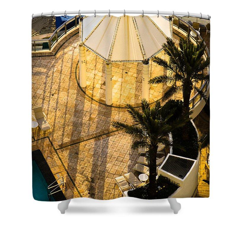 Beach Shower Curtain featuring the photograph Gazebo Shadow Lines by Ed Gleichman