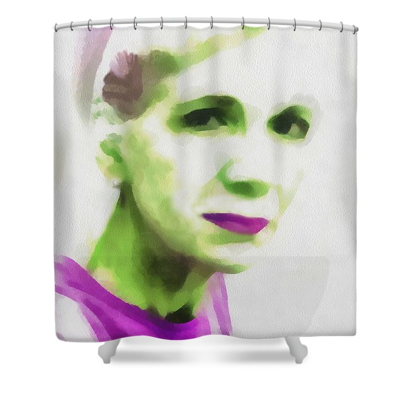 Woman Shower Curtain featuring the painting Gazing Through Glass by RC DeWinter