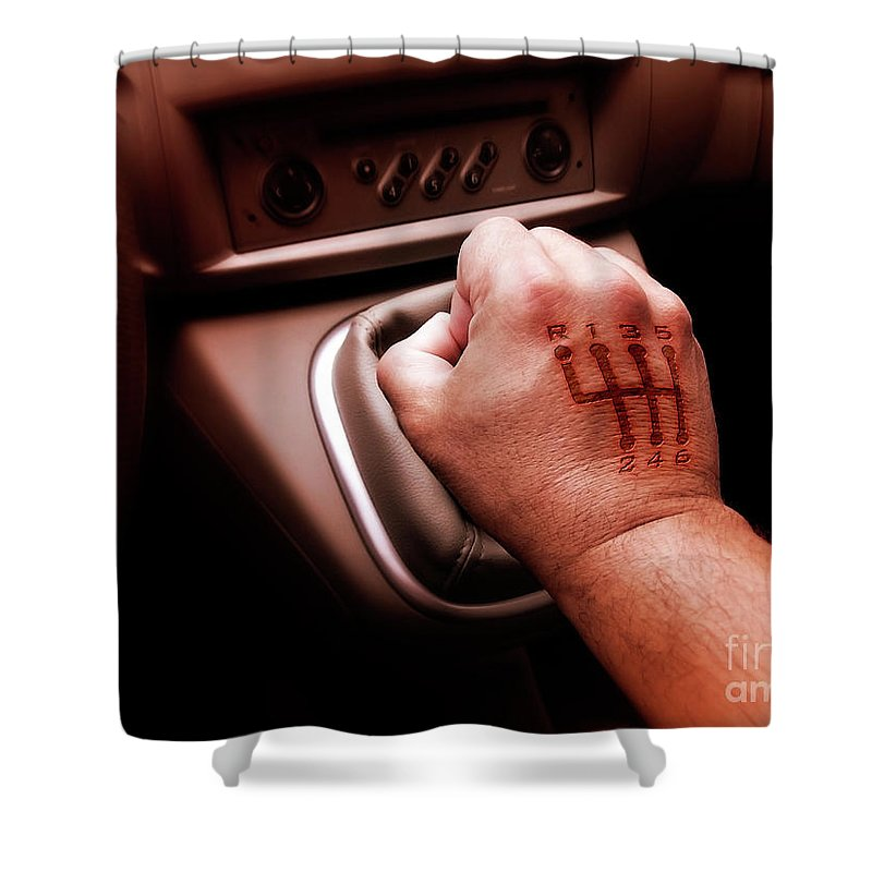 Automobile Shower Curtain featuring the photograph Gear Burn by Carlos Caetano