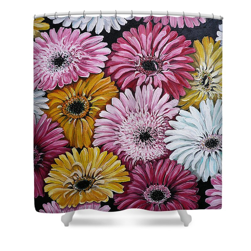 Flower Paintings Daisy Paintings Floral Paintings Blooms Color .gerbera Daisy Paintings Greeting Card Painting S Canvas Painting Poster Print Paintings Shower Curtain featuring the painting Gebera Daisies by Karin Dawn Kelshall- Best