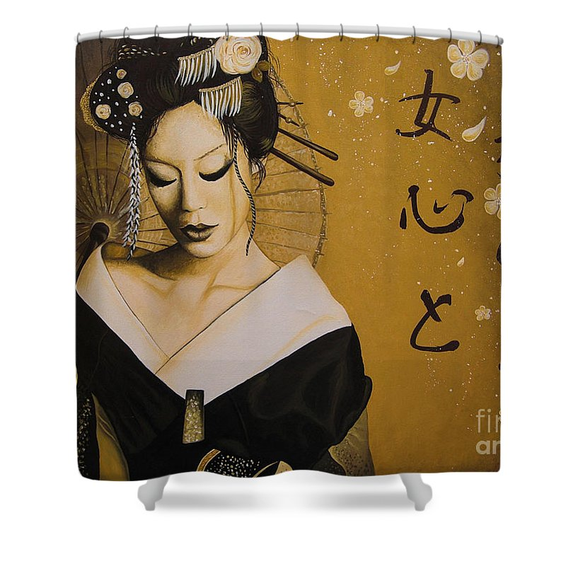 Geisha Shower Curtain Featuring The Painting By Elena Spedale