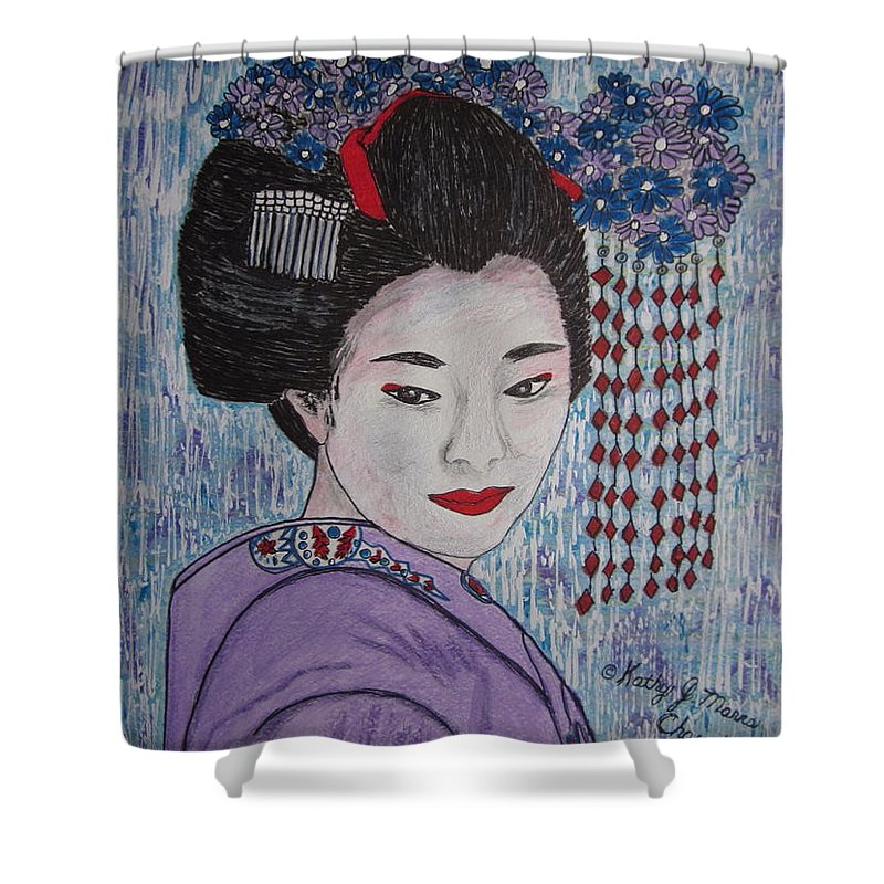 Oriental Shower Curtain featuring the painting Geisha Girl by Kathy Marrs Chandler