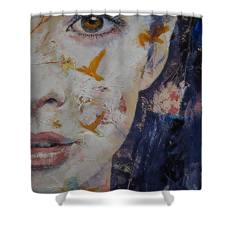 Shower Curtain Featuring The Painting Geisha By Michael Creese