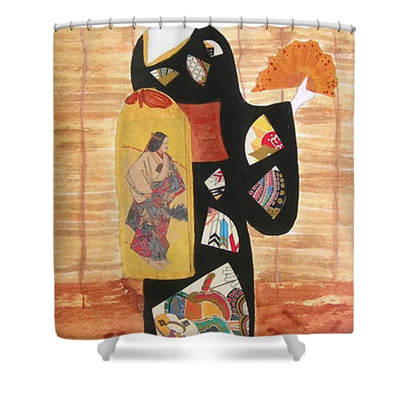 Mixed Media Shower Curtain featuring the painting Geisha by Mini Arora