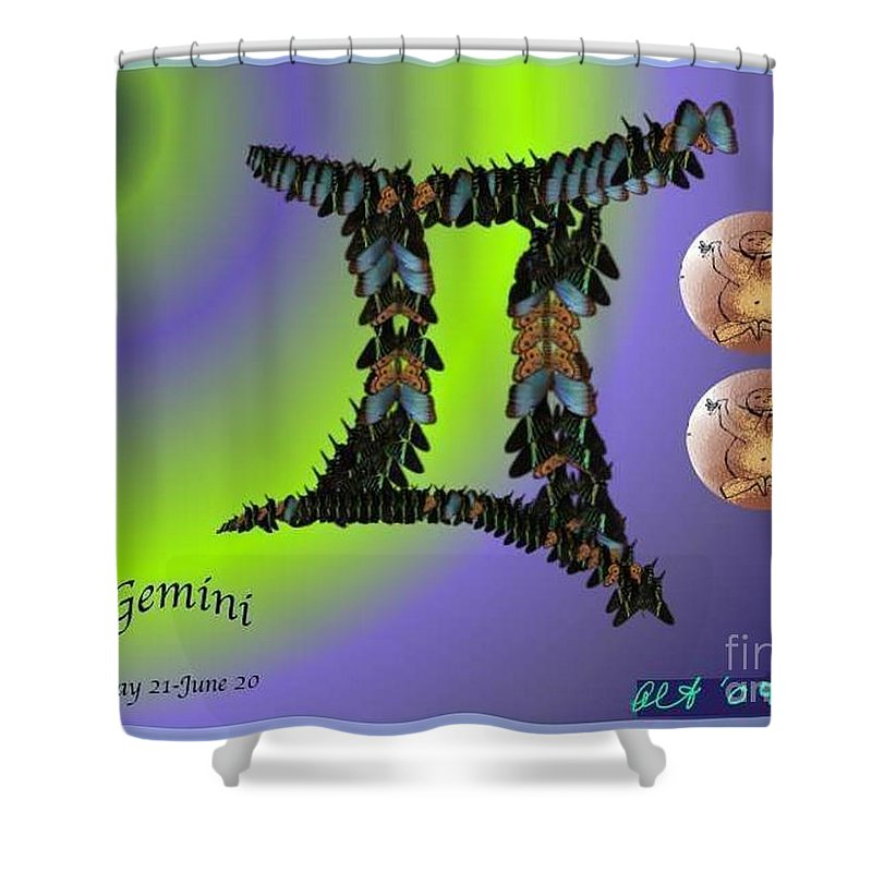 Gemini Shower Curtain featuring the digital art Gemini by Alice Terrill and William Baumol by The Art of Alice Terrill