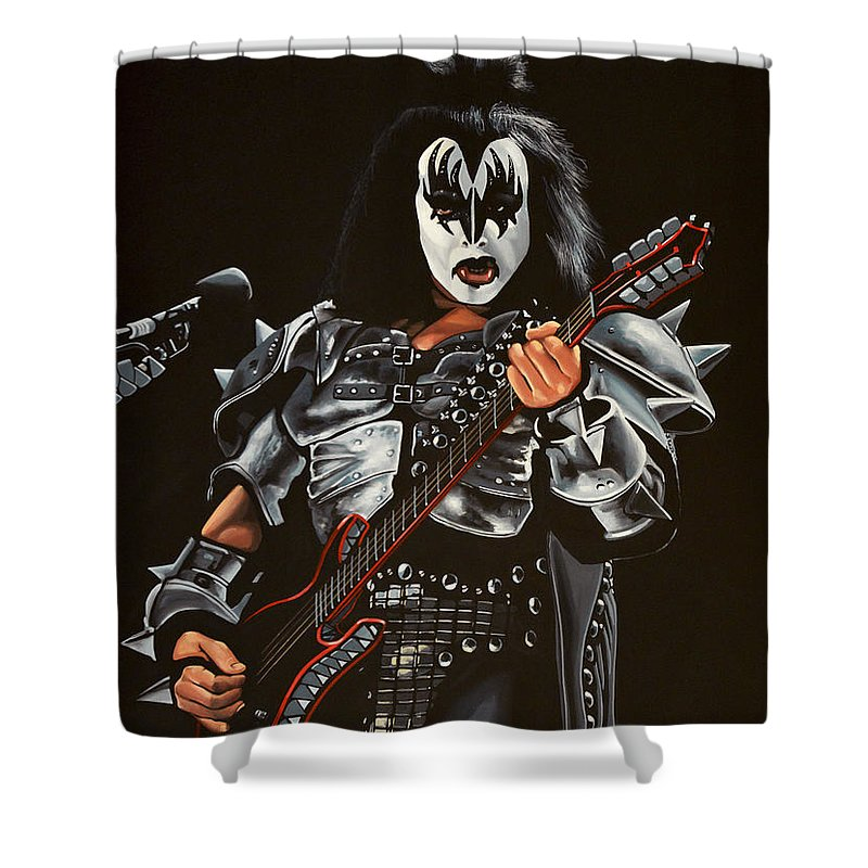 Kiss Shower Curtain featuring the painting Gene Simmons Of Kiss by Paul Meijering