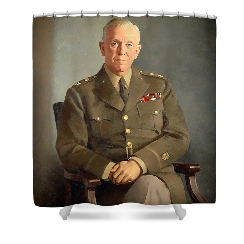 Painting Shower Curtain featuring the painting General George C Marshall by Mountain Dreams