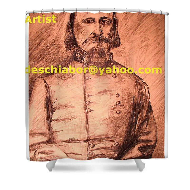 General Pickett Shower Curtain featuring the painting General Pickett Confederate by Eric Schiabor
