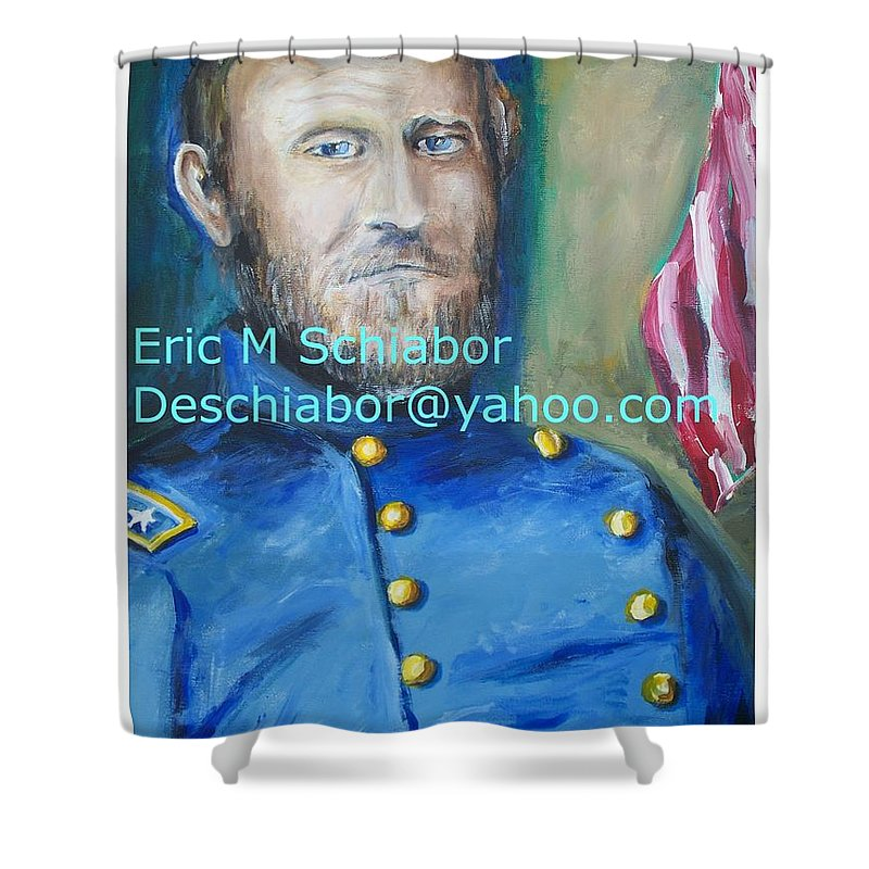Grant Artwork Shower Curtain featuring the painting General Us Grant by Eric Schiabor