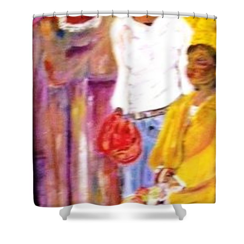 Family Shower Curtain featuring the painting Generations by Peggy Blood