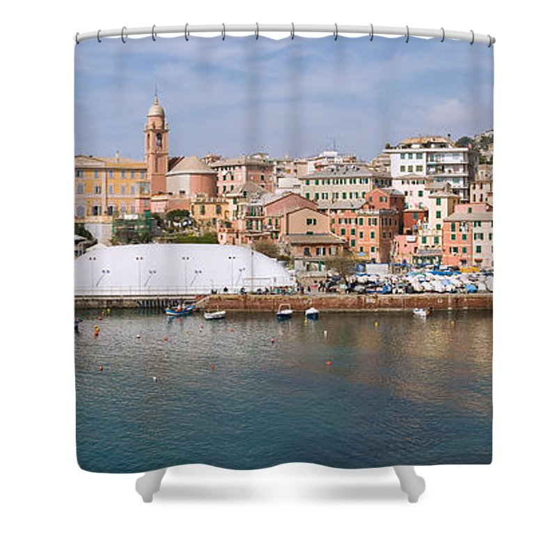 Blue Shower Curtain featuring the photograph Genova Nervi by Antonio Scarpi