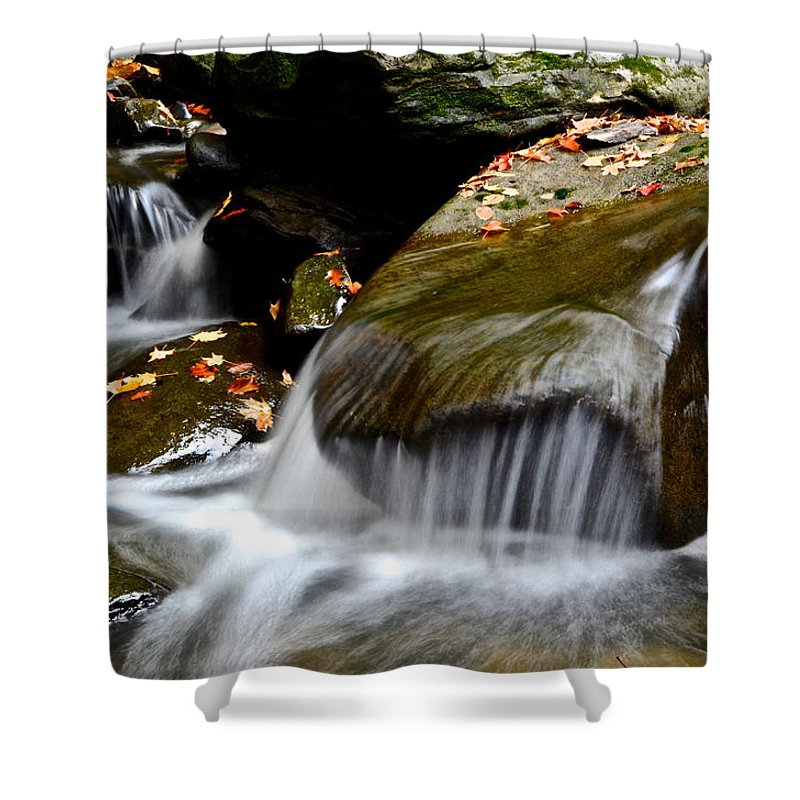 Waterfall Shower Curtain featuring the photograph Gentle Falls by Frozen in Time Fine Art Photography