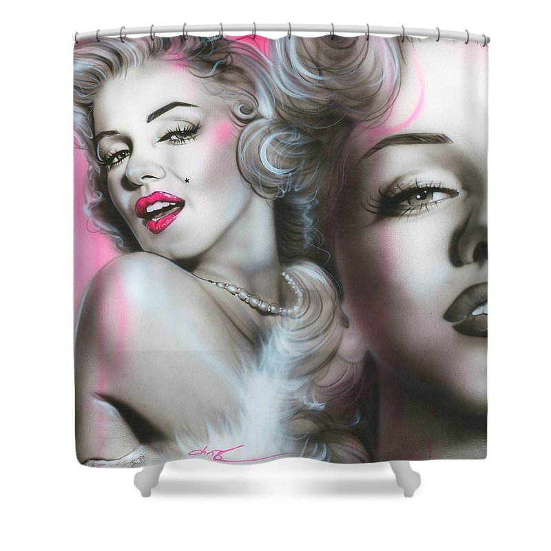 Marilyn Shower Curtain featuring the painting Gentlemen Prefer Blondes by Christian Chapman Art