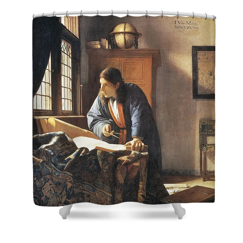 Vermeer Shower Curtain featuring the painting Geographer, 1669 by Jan Vermeer
