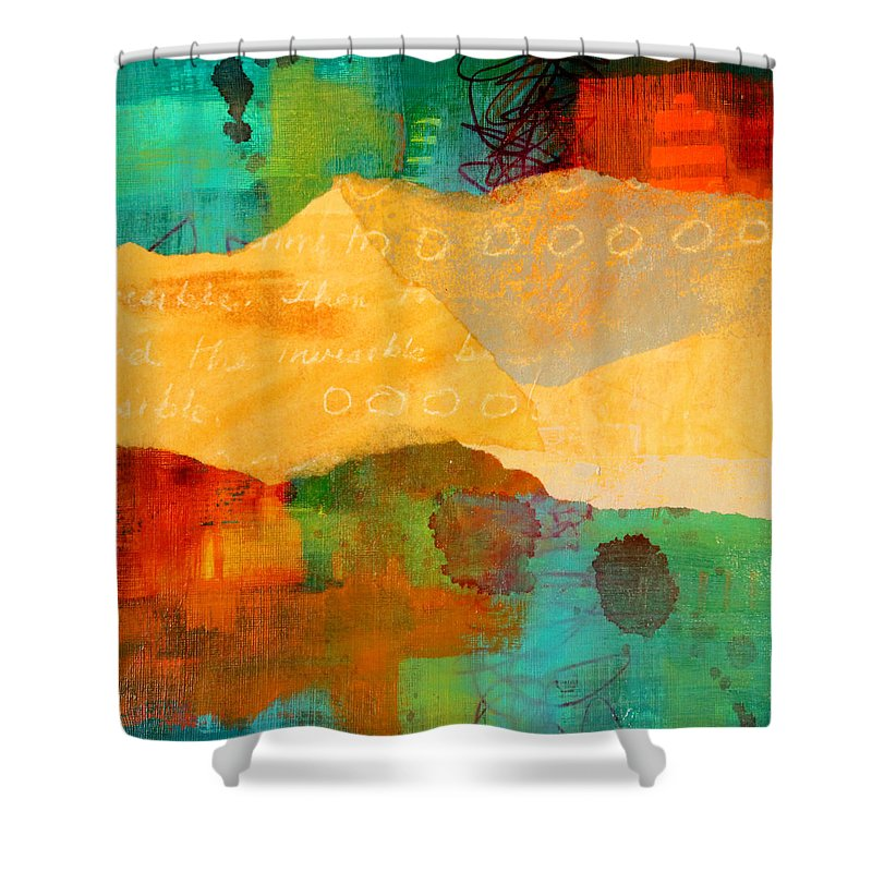 Geography Shower Curtain featuring the mixed media Geography by Nancy Merkle