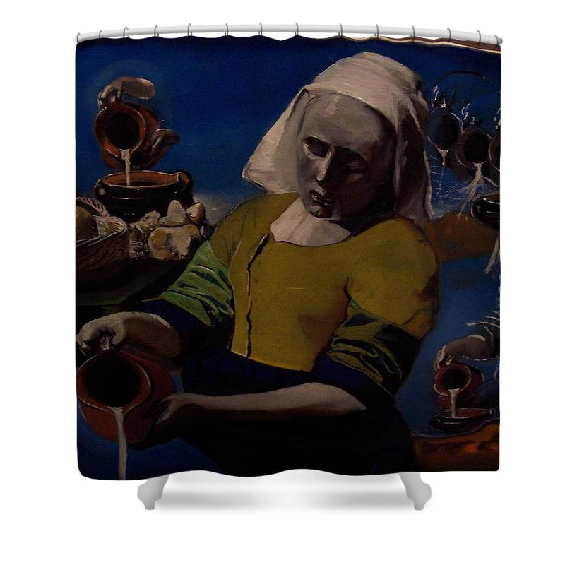 Shower Curtain featuring the painting Geological Milk Maid Anthropomorphasized by Jude Darrien