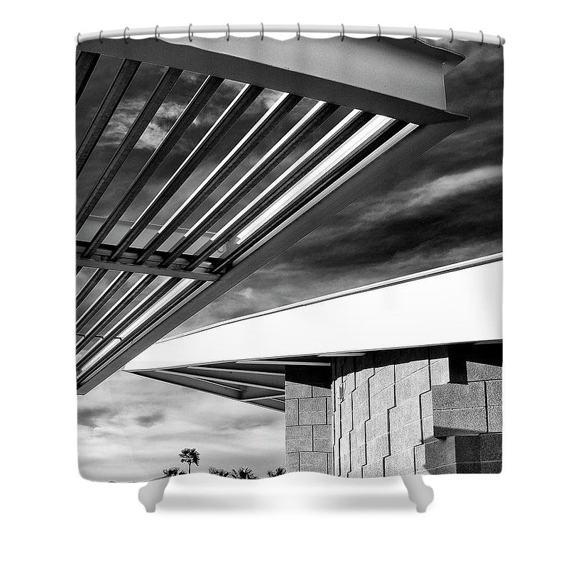 Featured Shower Curtain featuring the photograph Geometry Lesson Palm Springs Tram Station by William Dey