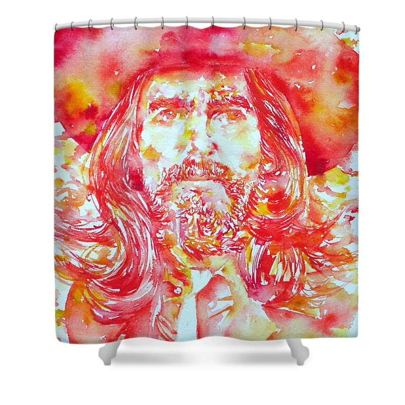 George Shower Curtain featuring the painting George Harrison With Hat by Fabrizio Cassetta