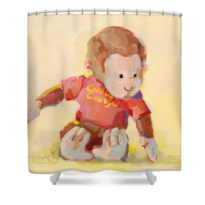 Curious George Shower Curtain Featuring The Painting By Kimberly Santini
