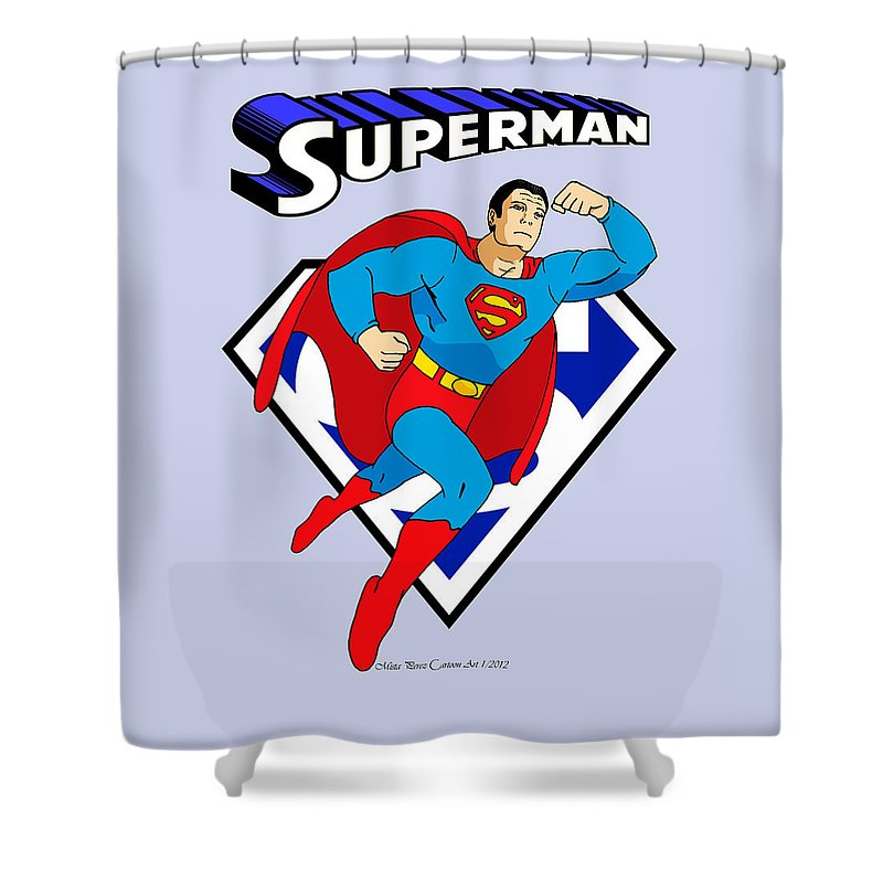 Mista Perez Shower Curtain Featuring The Drawing George Reeves Superman By Cartoon Art