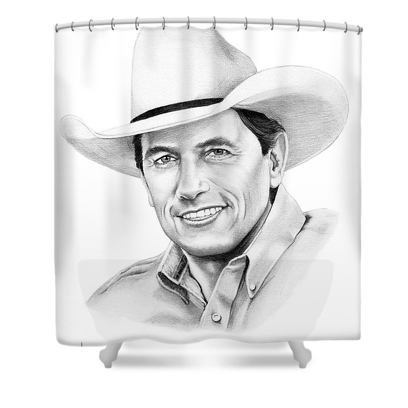 Pencil Shower Curtain featuring the drawing George Straight by Murphy Elliott