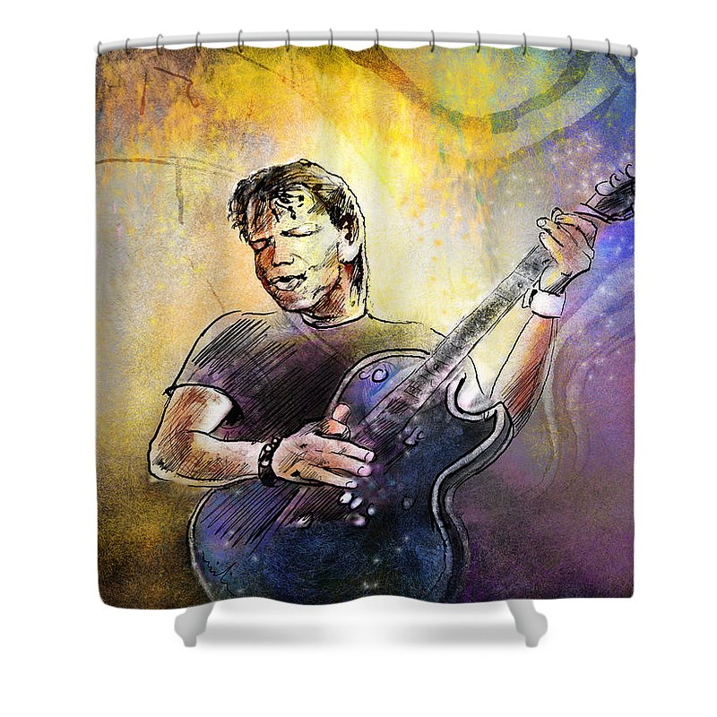 Music Shower Curtain featuring the painting George Thorogood In Cazorla In Spain 02 by Miki De Goodaboom