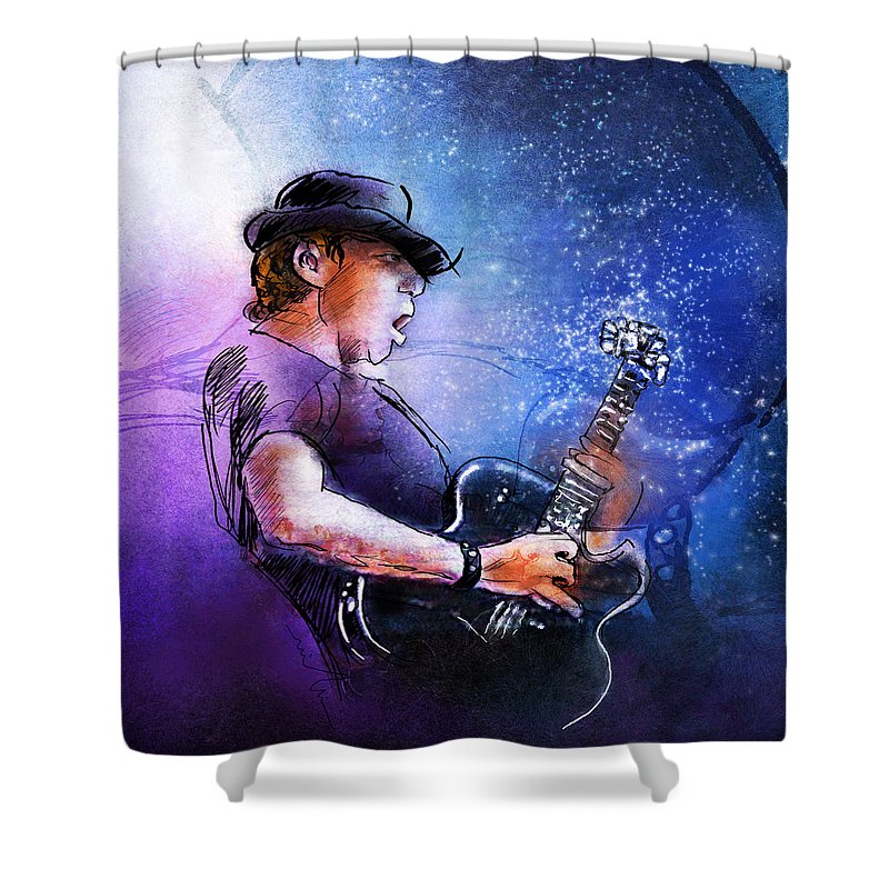 Music Shower Curtain featuring the painting George Thorogood In Cazorla In Spain by Miki De Goodaboom