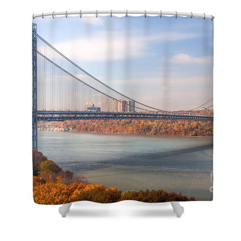 Clarence Holmes Shower Curtain featuring the photograph George Washington Bridge by Clarence Holmes