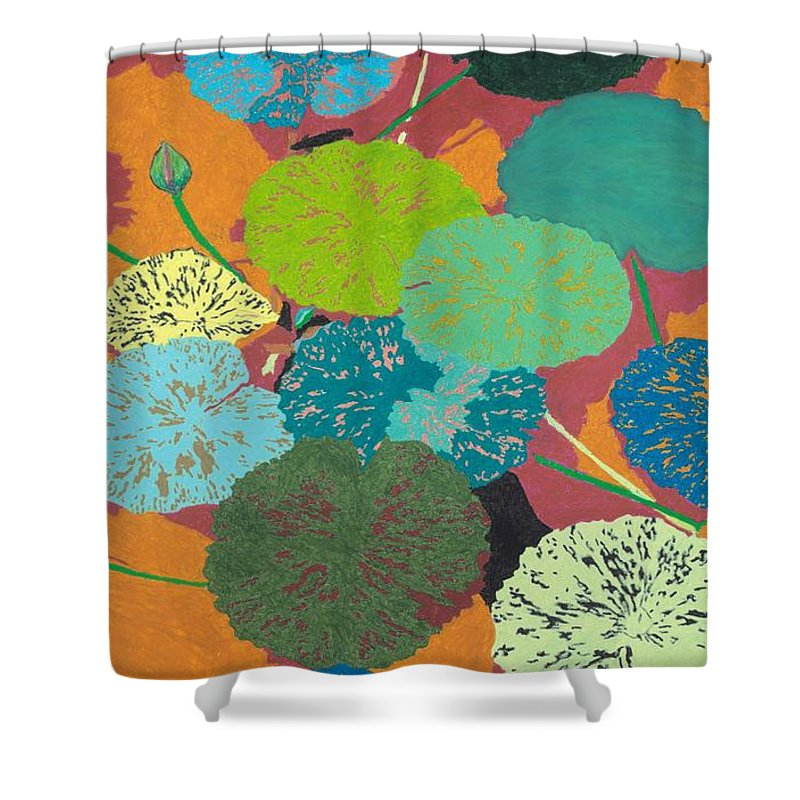 Landscape Shower Curtain featuring the painting Georgia Heat by Allan P Friedlander