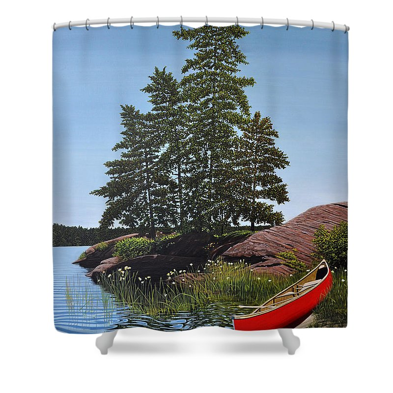 Landscapes Shower Curtain featuring the painting Georgian Bay Beached Canoe by Kenneth M Kirsch