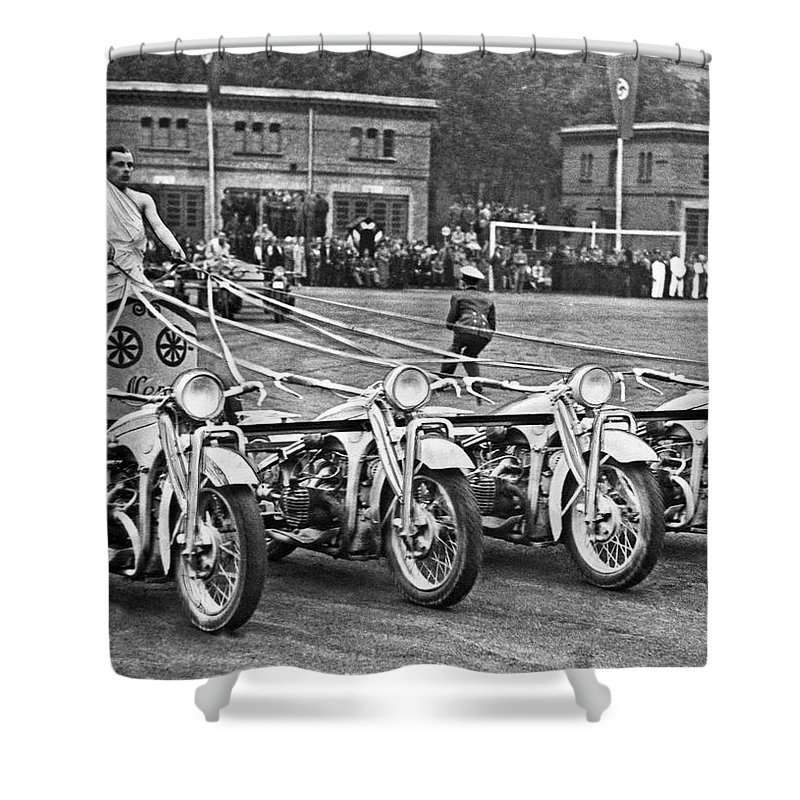1930s Shower Curtain featuring the photograph German Chariots At Potsdam by Underwood Archives