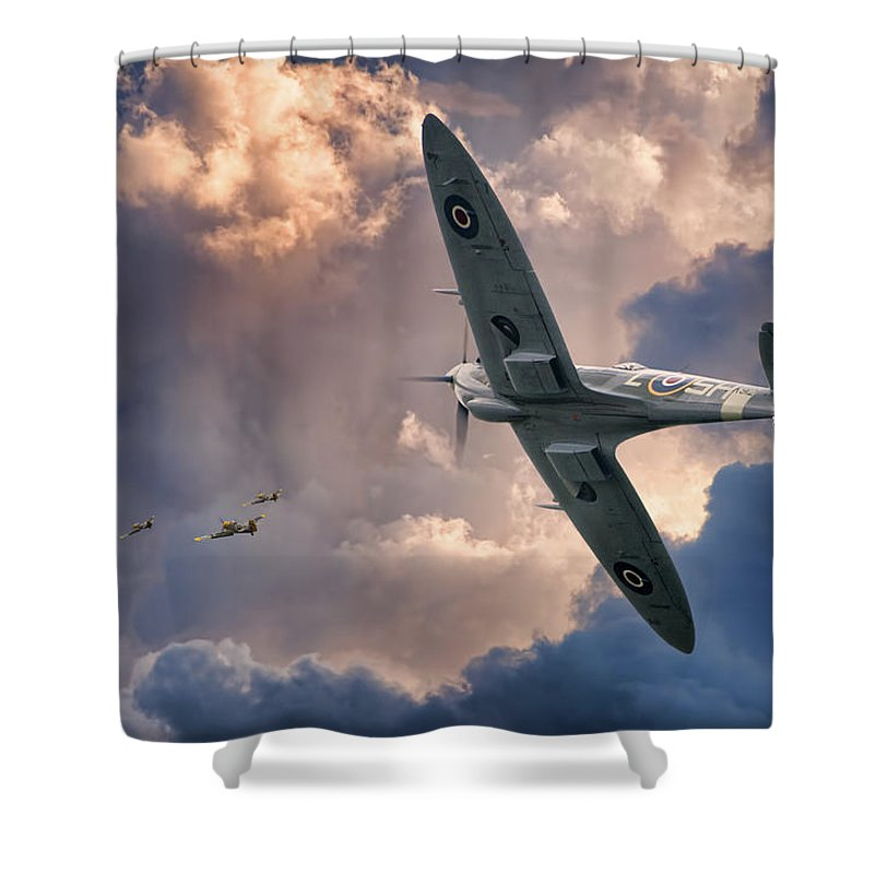 Aviation Aircraft Flight Flying Military War Wwii Drama Skies Clouds Spitfire Fighting Fighter Royal Air Force Canadian Classic Beauty Shower Curtain featuring the photograph Getting The Jump by Jeff Stephenson