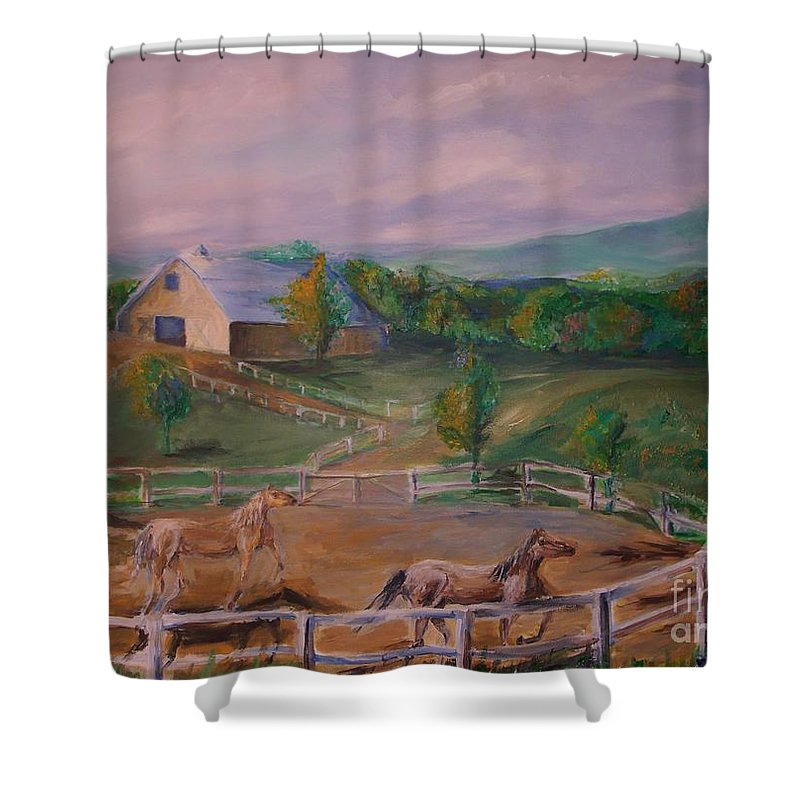 Pennsylvania Shower Curtain featuring the painting Gettysburg Farm by Eric Schiabor