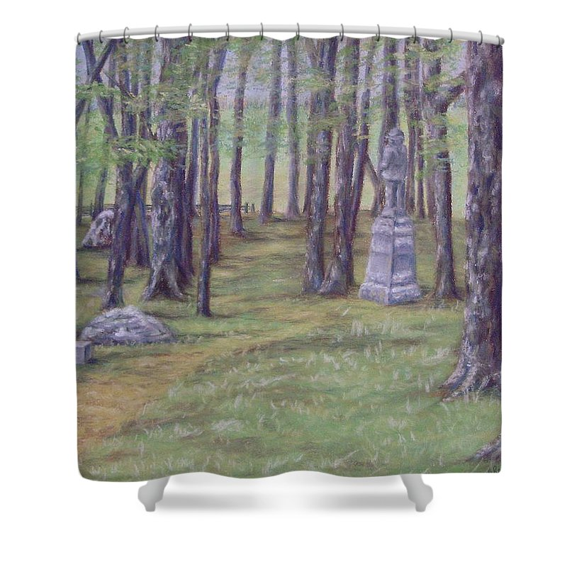Gettysburg Shower Curtain featuring the pastel Gettysburg Pathway by Joann Renner