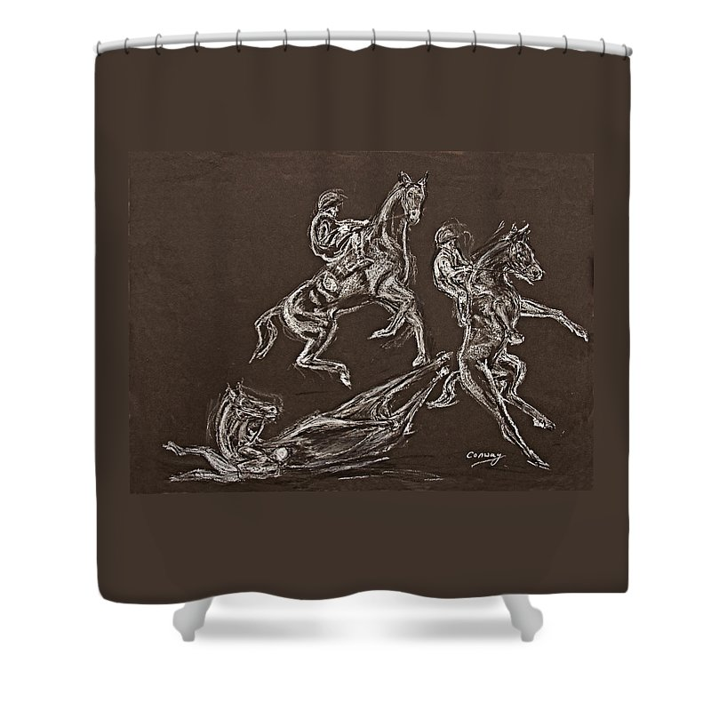 Rearing Horse Shower Curtain featuring the drawing Ghost Riders In The Sky by Tom Conway