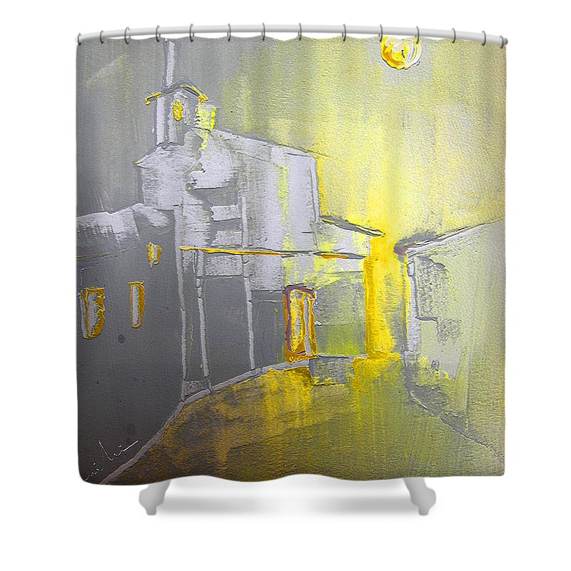 Ghost Town Shower Curtain featuring the painting Ghost Town In Spain by Miki De Goodaboom