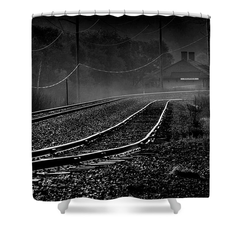 Train Tracks Shower Curtain featuring the photograph Ghost Tracks by Thomas Young