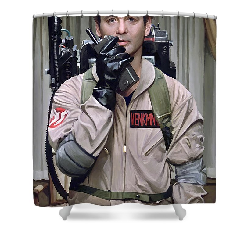 Bill Murray Paintings Shower Curtain Featuring The Painting Ghostbusters