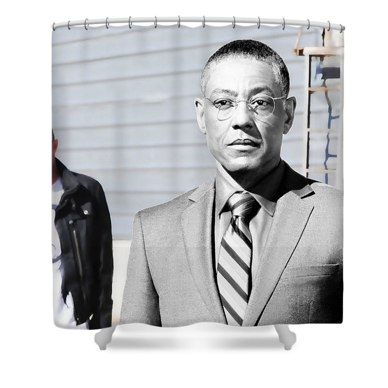 Aaron Paul Shower Curtain featuring the digital art Giancarlo Esposito as Gustavo Fring and Aaron Paul as Jesse Pinkman @ TV serie Breaking Bad by Gabriel T Toro