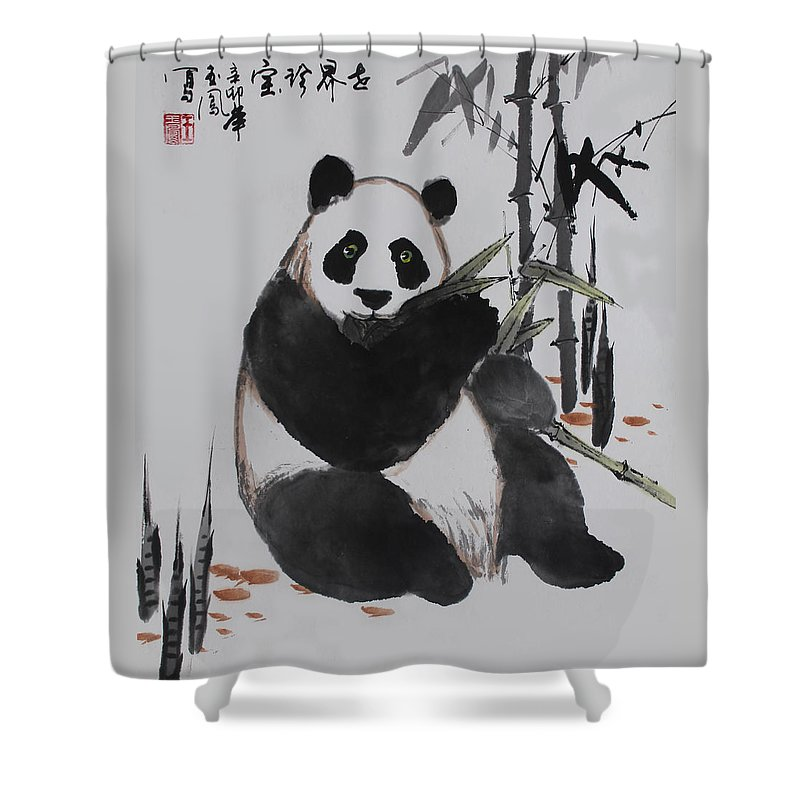 Panda Shower Curtain Featuring The Photograph Giant By Yufeng Wang