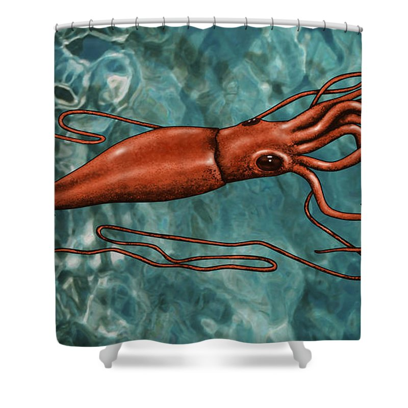 Giant Squid Shower Curtain For Sale By Gwen Shockey