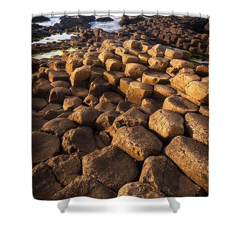 Europe Shower Curtain featuring the photograph Giant's Causeway Bricks by Inge Johnsson