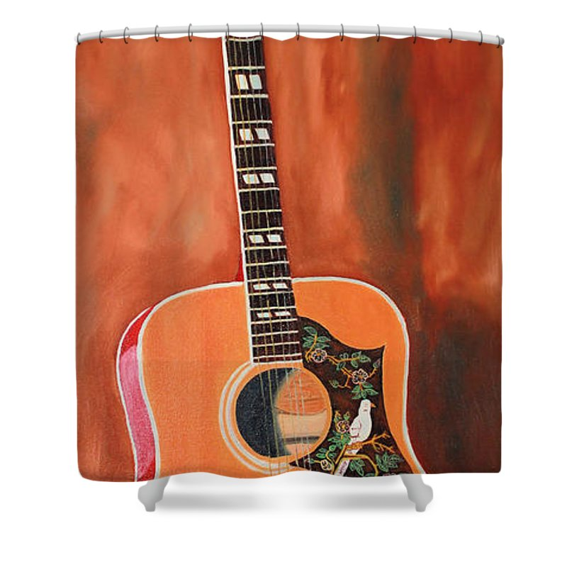 Todd Bandy Shower Curtain Featuring The Painting Gibson Dove Guitar By