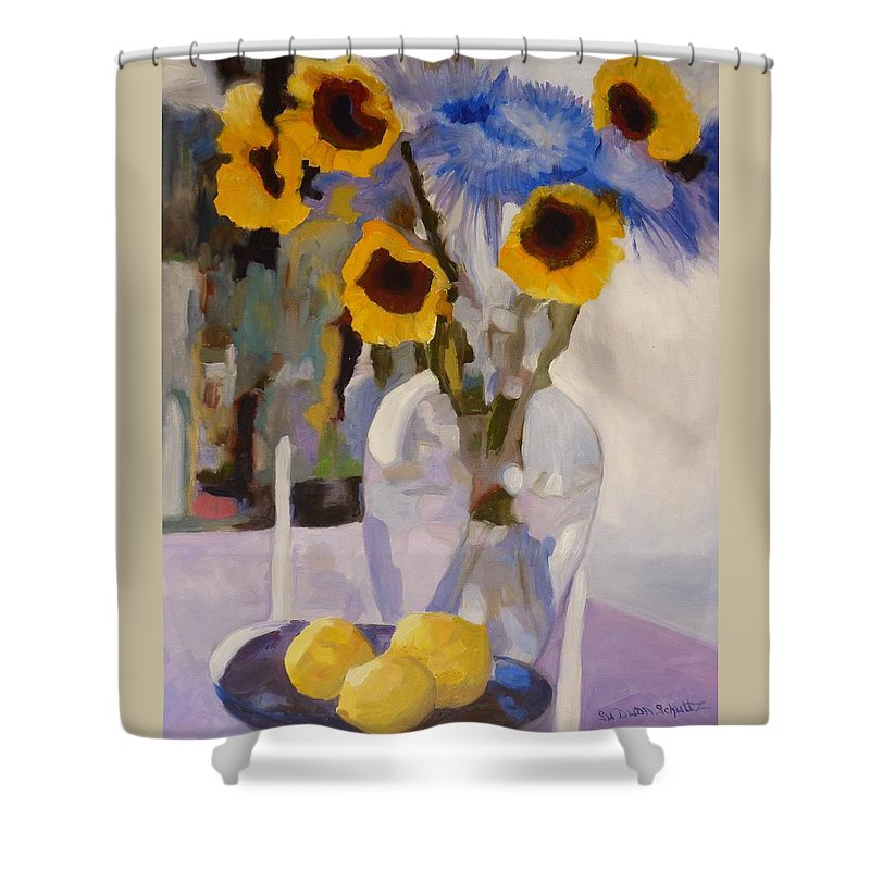 Still-life Shower Curtain featuring the painting Gifts Of The Sun by Susan Duda