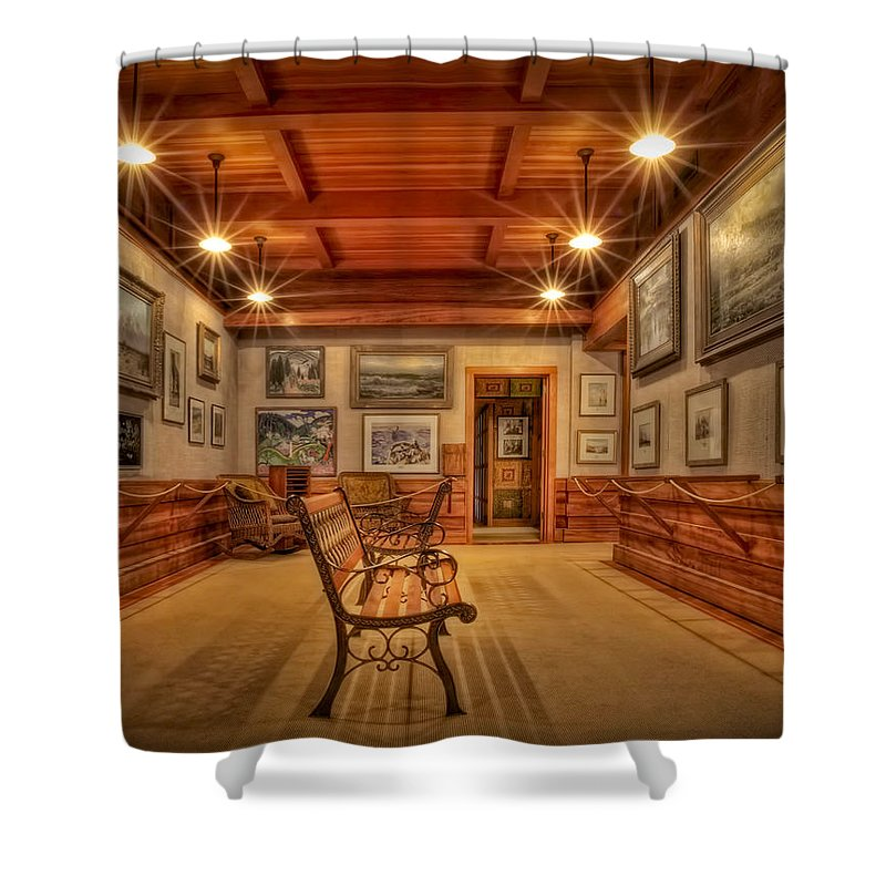 Connecticut Shower Curtain featuring the photograph Gillette Castle Gallery Room by Susan Candelario