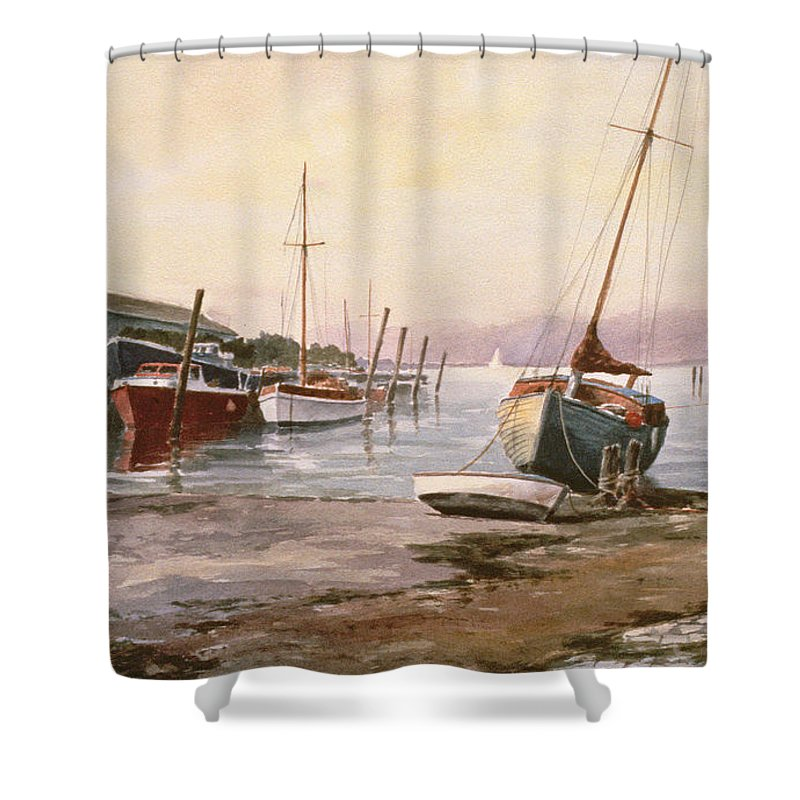 Shower Curtain featuring the painting Gillingham Pier On The Medway by Vic Trevett